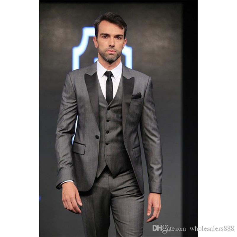 Brand New Groomsmen Grey Groom Tuxedos Peak Black Satin Lapel Men Suits  Wedding Best Man Bridegroom (Jacket Pants Vest Tie) L73