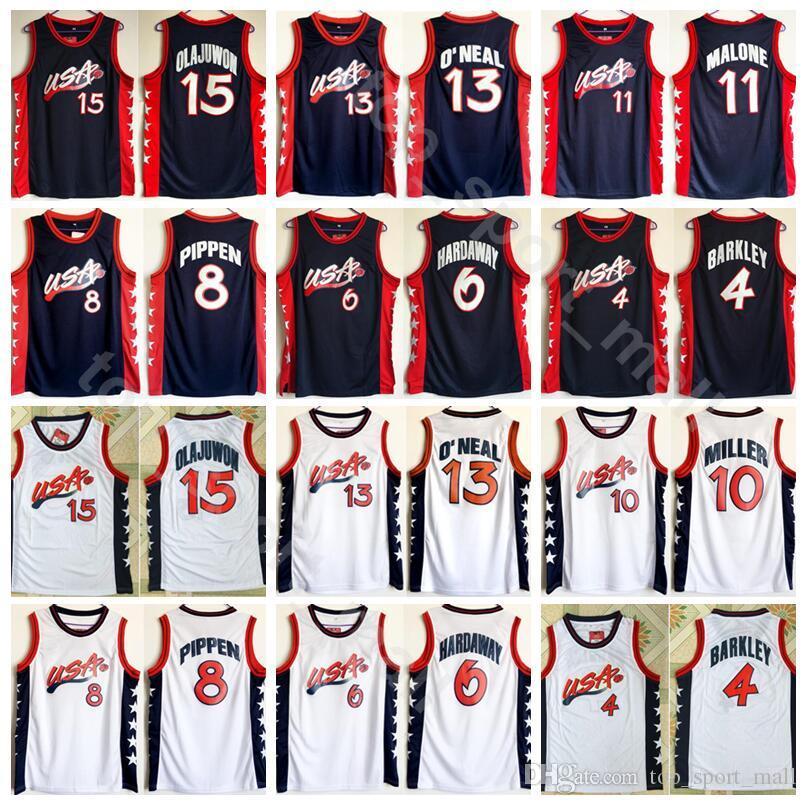 09f9b76bbf09 2019 1996 Dream Team Jerseys Basketball 13 Shaquille O Neal Oneal Hakeem  Olajuwon Penny Hardaway Charles Barkley Reggie Miller Scottie Pippen From  ...