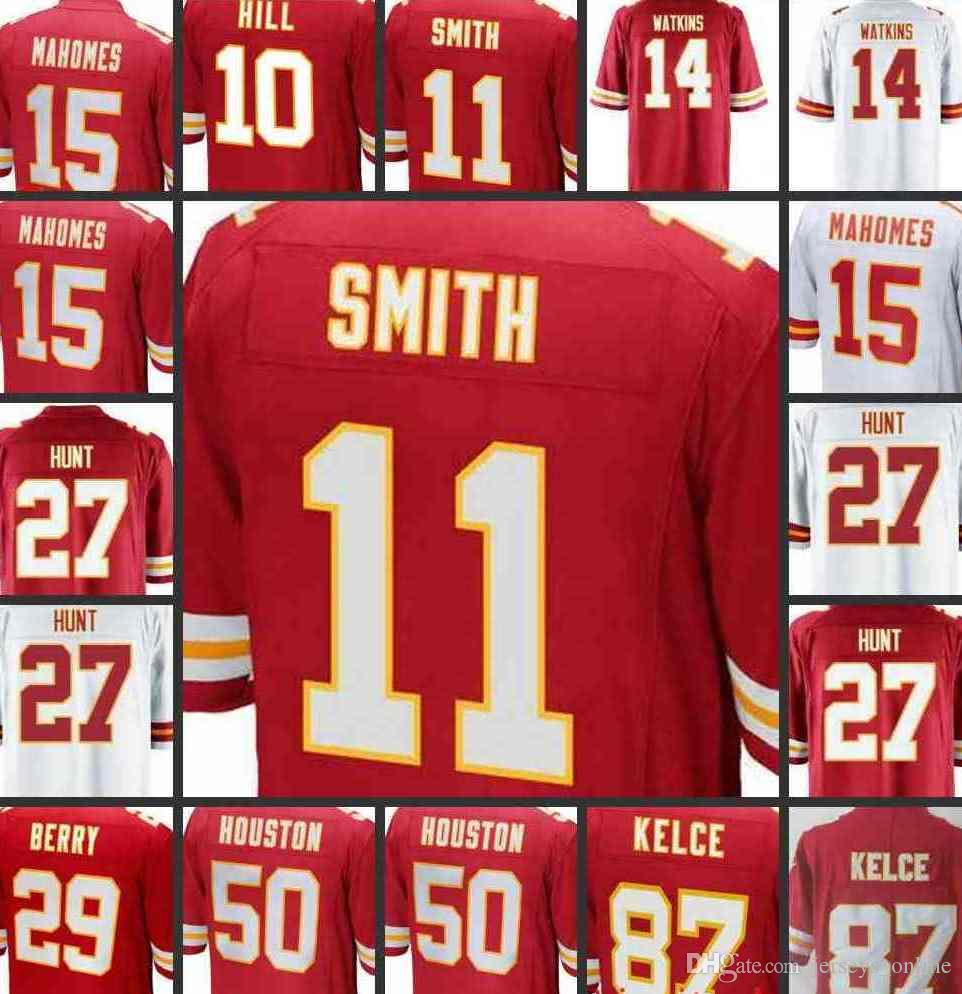 the latest c36da 97554 15 Patrick Mahomes II jersey Stitched Kansas City 10 Chiefs Tyreek Hill 27  Kareem Hunt 87 Travis Kelce Eric Berry Thomas Houston Fisher 1101
