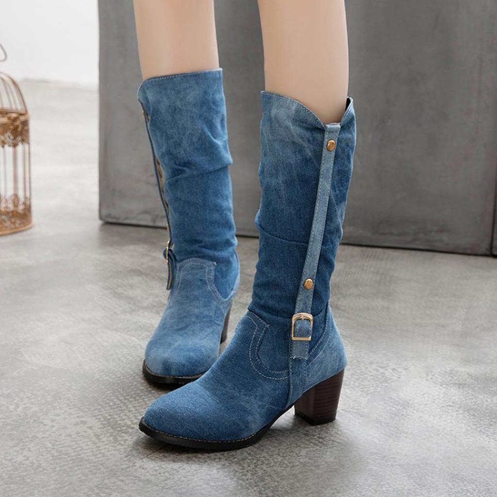 Perimedes Womens Cowboy Denim Boots 2019 Stylish Platform Lace-Up Round Toe Over The Knee High knight Boots zapatos de mujer