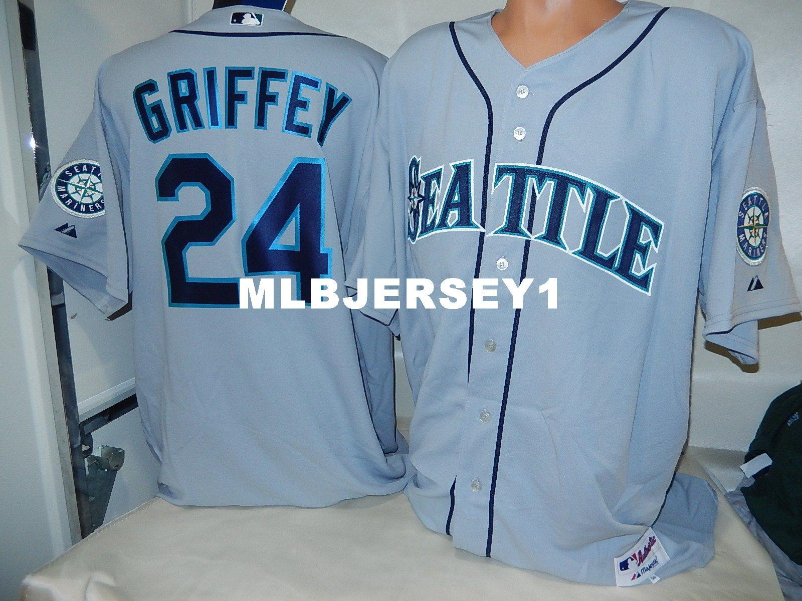 f808b2424 ... cheap custom majestic seattle 24 ken griffey jr top game jersey gray  new mens stitched jerseys