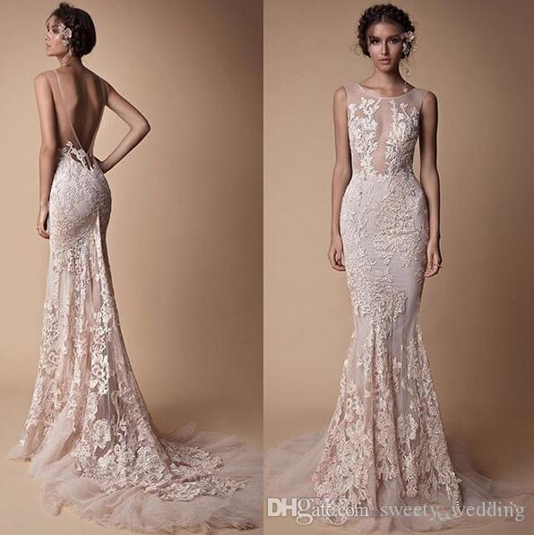 Berta Lace Applique Mermaid Evening Dresses Wear Sheer Neck Backless Full length Custom Make Fishtail Prom Pageant Gowns Cheap