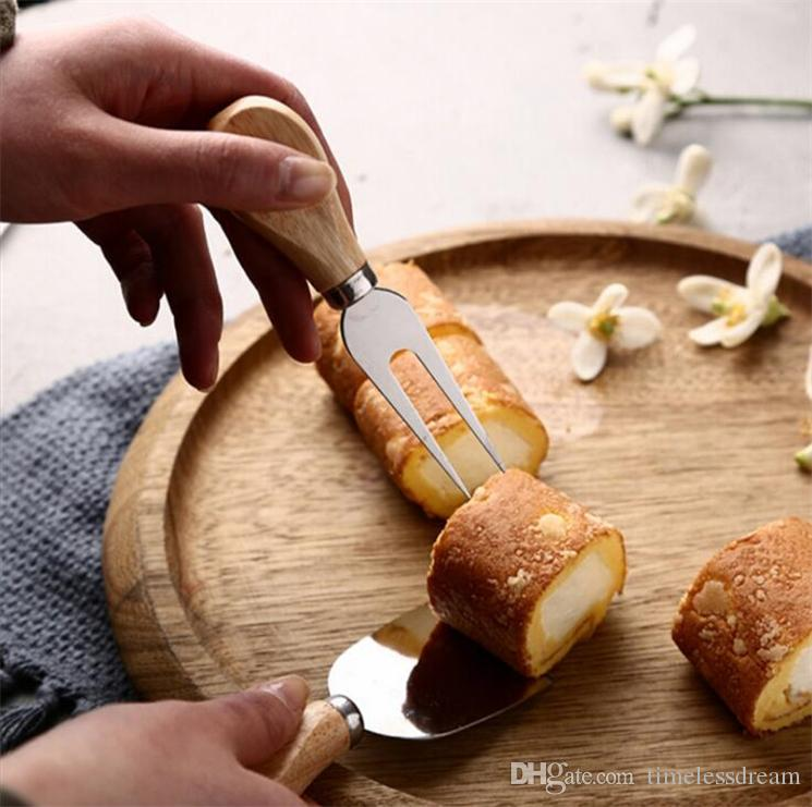 Outils de fromage utiles Set / set Poignée Chêne Couteau Fourche Pelle Kit Râpes Pour Couper La Cuisson Du Fromage Planche À Définir Beurre Pizza Slicer Cutter