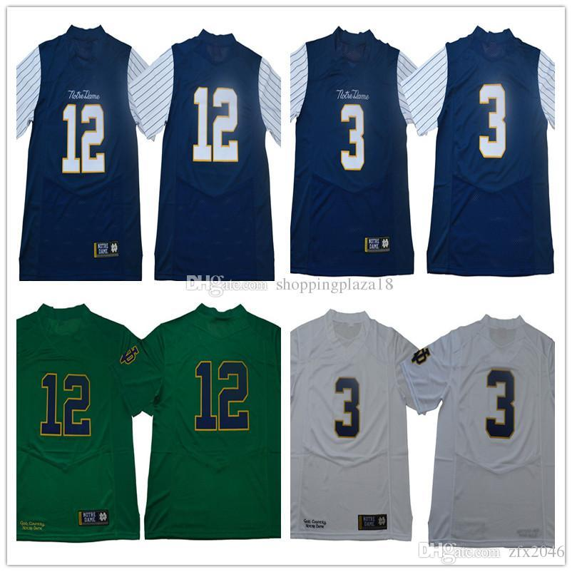 NCAA Men s 3 JOE MONTANA Notre Dame 12 Ian Book Fighting Irish 2018  Shamrock Series Pinstripe Replica Football Jersey College Stitched White  Green Navy ... dcc86ba11