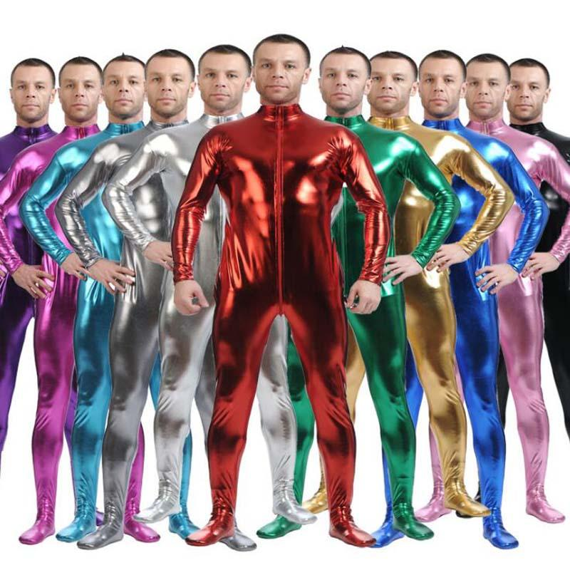 12 Colors Men Tight Fitting Bodysuit Shiny Metallic Zentai Full Body Unitard Stretchable Skin Jumpsuit Zipper One-piece Garment
