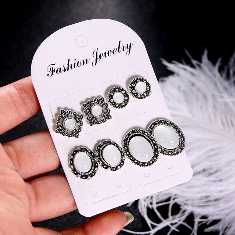 Meyfflin Fashion Stud Earrings Set Silver Color Triangle Bar Crystal Earrings for Women Boho Jewelry Brincos New