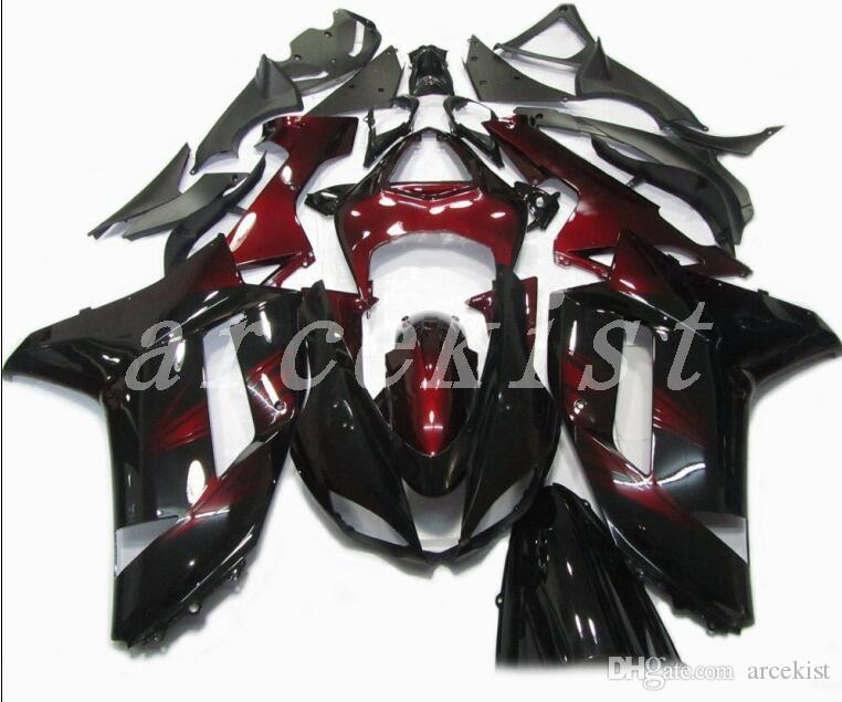 TOP quality New ABS motorcycle Fairings kits fit for kawasaki 07 08 ZX 6R 636 2007 2008 Ninja ZX6R ZX636 fairing set custom Dark red black