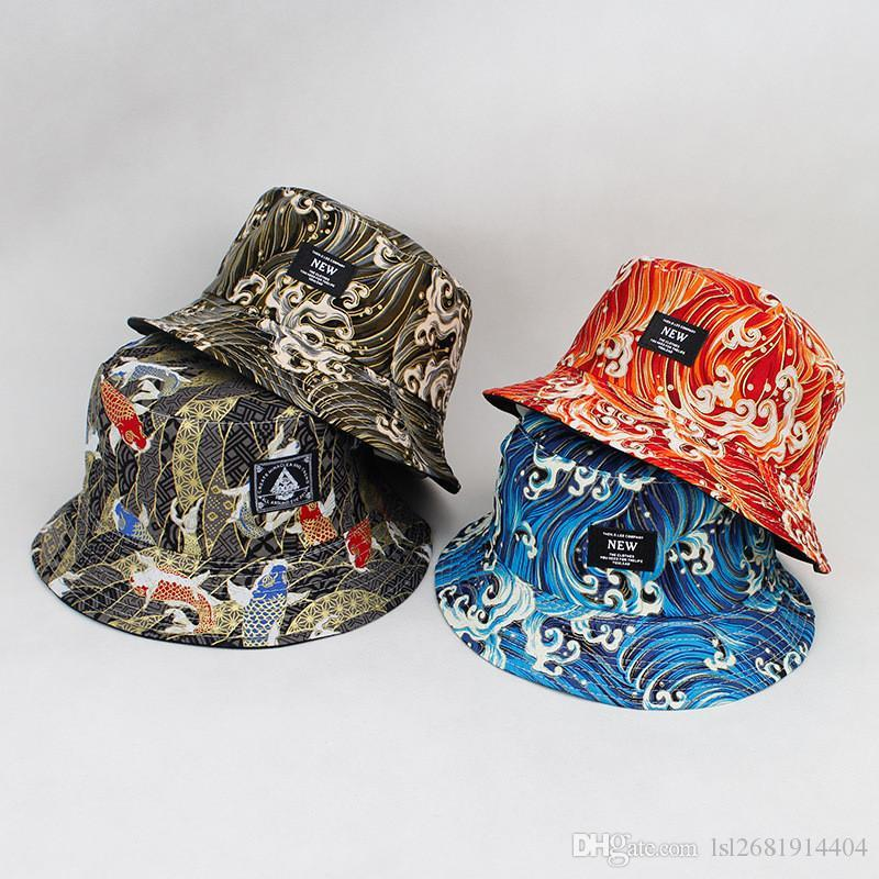 08be745d1 LDSLYJR Cotton Koi fish print on both sides Bucket Hat Fisherman Hat  outdoor travel hat Sun Cap Hats for Men and Women 174