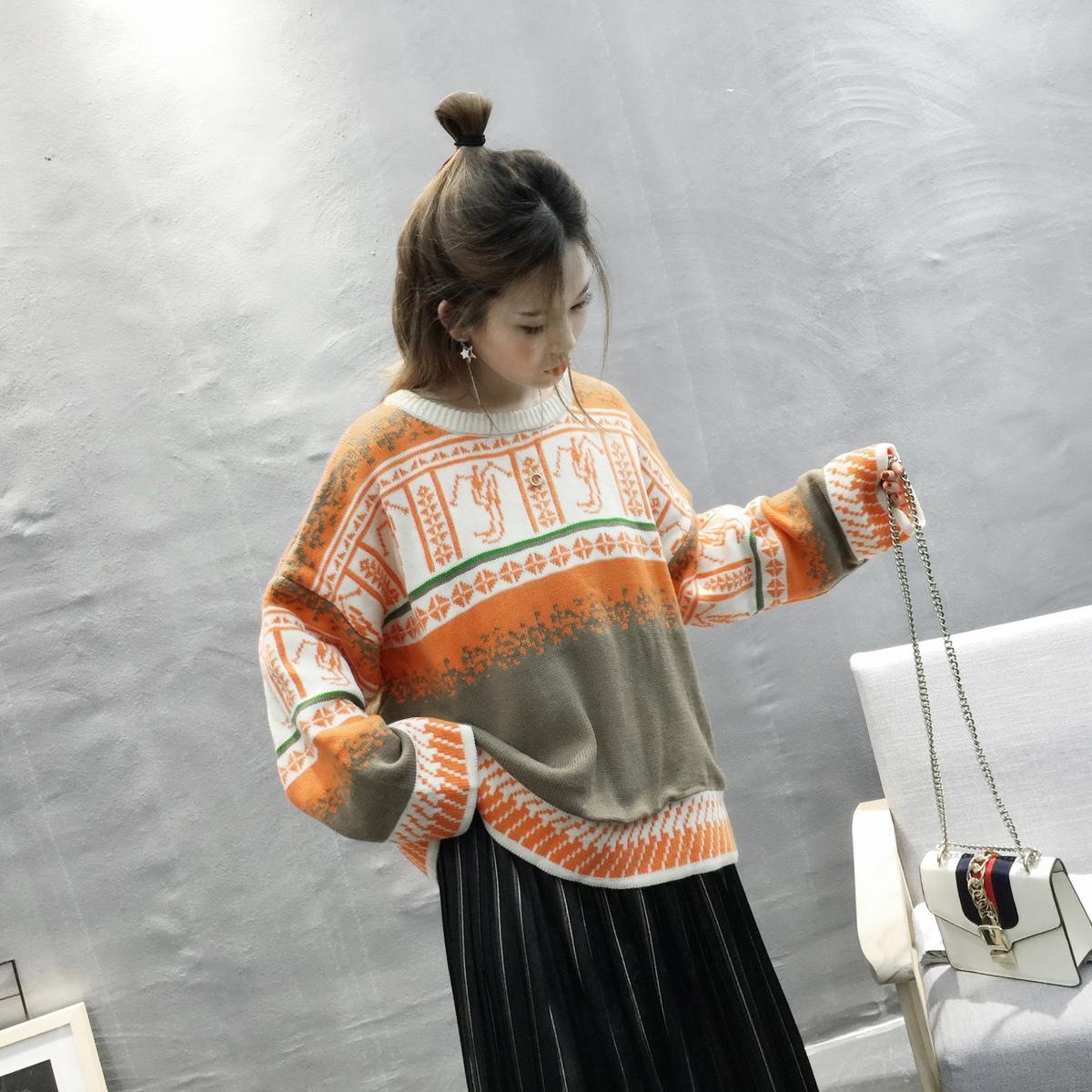 PEONFLY Women Pullover Sweaters Loose Long Sleeve Casual Vintage Sweaters Knitted Warm Oversized Christmas Sweater Autumn