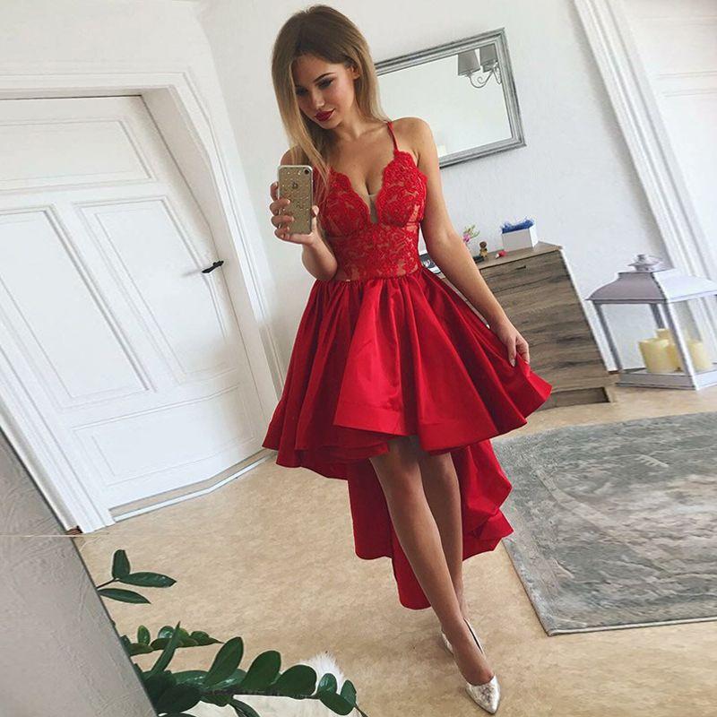 db6425f8f9a4f7 2019 rouge haut bas robes de bal v cou bretelles spaghetti dentelle robes  de soirée en satin robes de bal robes asymétriques pour Homecoming