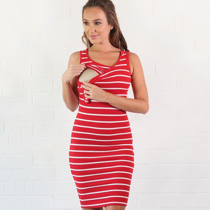 e47fc9a5c351f Pregnant Women Summer Sleeveless Dress Striped Dresses Breastfeeding And  Nursing Women Dresses Women's Tops Vestidos