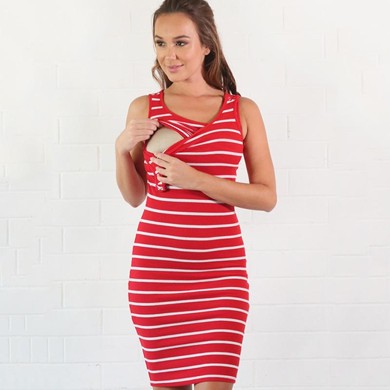 e1076053f Compre Vestido Sin Mangas De Verano Para Mujeres Embarazadas Vestidos A  Rayas Lactancia Y Amamantamiento Vestidos De Mujer Tops Para Mujer Vestidos  A  45.81 ...