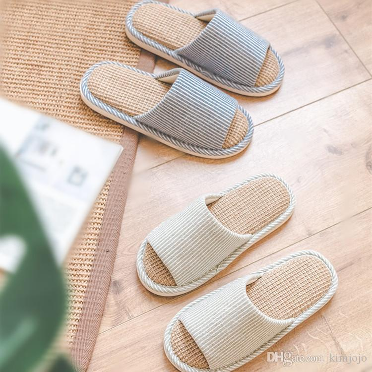 21d7db706895dd Indoor Home Slippers Summer Natural Flax Bedroom Women House Shoes ...