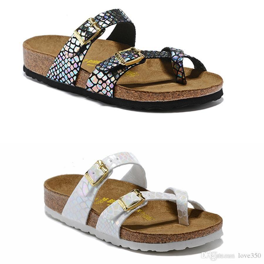 8ba6c2201 Cheap Birkenstock Hot Sale Mayari Arizona Gizeh 2019 Summer Men Women Flats  Sandals Cork Slippers Unisex Casual Shoes Print Mixed Colors Fashion