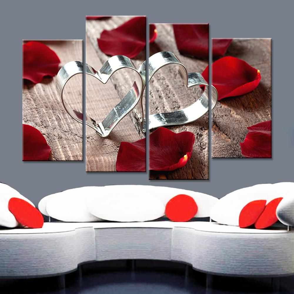 2019 romantic love ring red rose home decorative canvas painting rh dhgate com red rose home care red rose home care