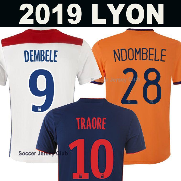 de7cd94d4b690 Compre New 19 20 Camisola De Futebol Olympique Lyonnais 2019 2020 Soccer  Jersey Football Shirt Lyon TRADE NDOMBELE DEMBELE MEMPHIS FEKIR MAILLOT OL  Camisa ...