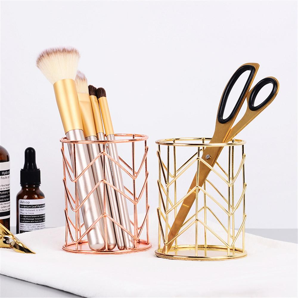 2 Colors Makeup Storage Box Cylindrical Case Storage Lipstick Brush Pen Holder Organizer Iron Make up tool