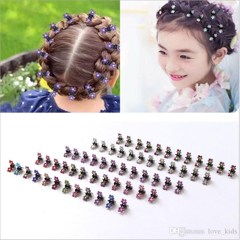 12 color baby girl hair clip cute Flower Hair Claw Hairpins Rhinestone crystal decoration hair clip