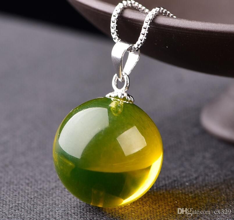 Pure natural Mexican 5A clean water Lancang necklace pendant beeswax amber original stone s925 silver clavicle chain female models