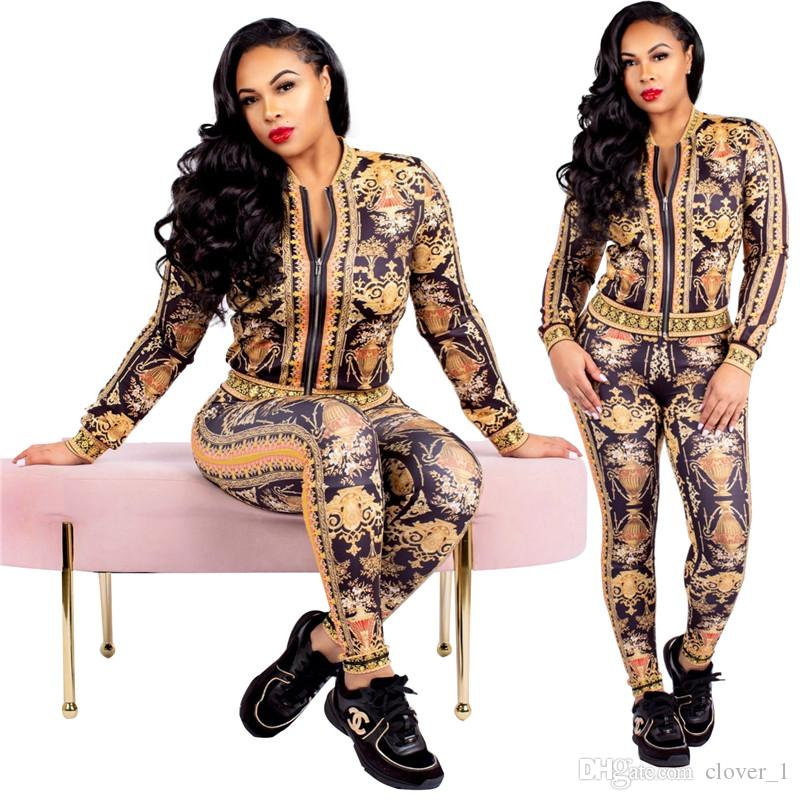 womens hoodie legging two piece set outfits long sleeve tracksuit jacket pants sportswear outerwear tights sports set hot klw2720