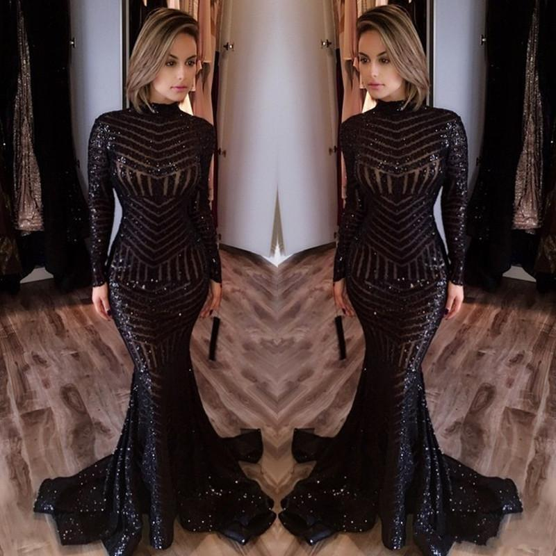 2019 New Hot Sale High Neck Long Sleeves Floor Length Memraid Prom Party Dresses Formal Evening Gowns Custom Made Cheap Long Evening Dresses