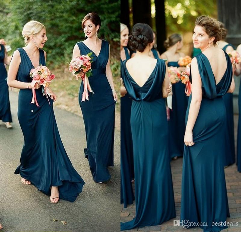 54aa27dc34c 2019 Elegant Teal Green Sheath Bridesmaid Dresses V Neck Open Back Floor  Length Maid Of Honor Dress Cheap Country Prom Party Gowns Pink Bridesmaids  Dresses ...
