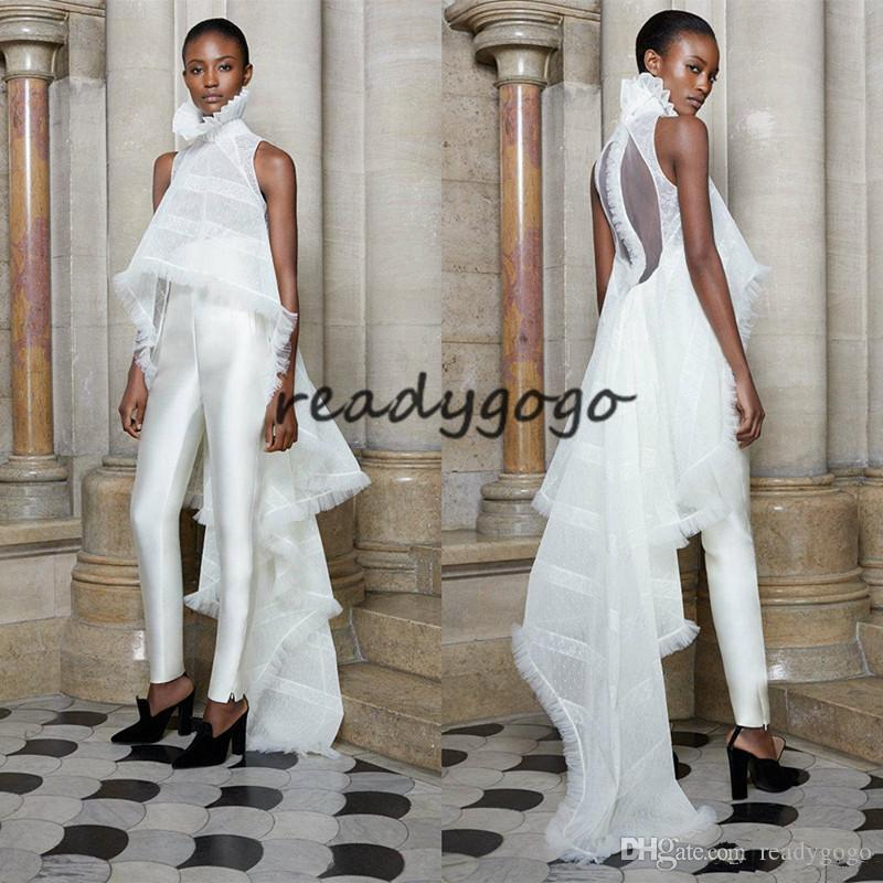 Ashi Studio Fashion Prom Jumpsuit With Outfit 2020 White High Neck Two Pieces White Evening Dress Custom Made Pant Suit