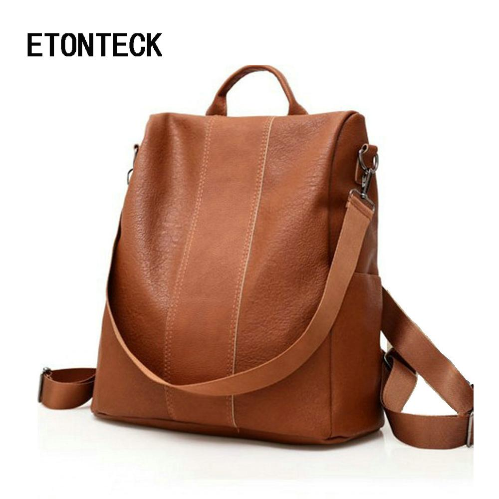 95ae8e2d8b58 2019 FashionETONTECK Retro Women Leather Backpack College Preppy School Bag  For Student Laptop Girls Ladies Daily Back Pack Shop Trip Travel Best  Laptop ...