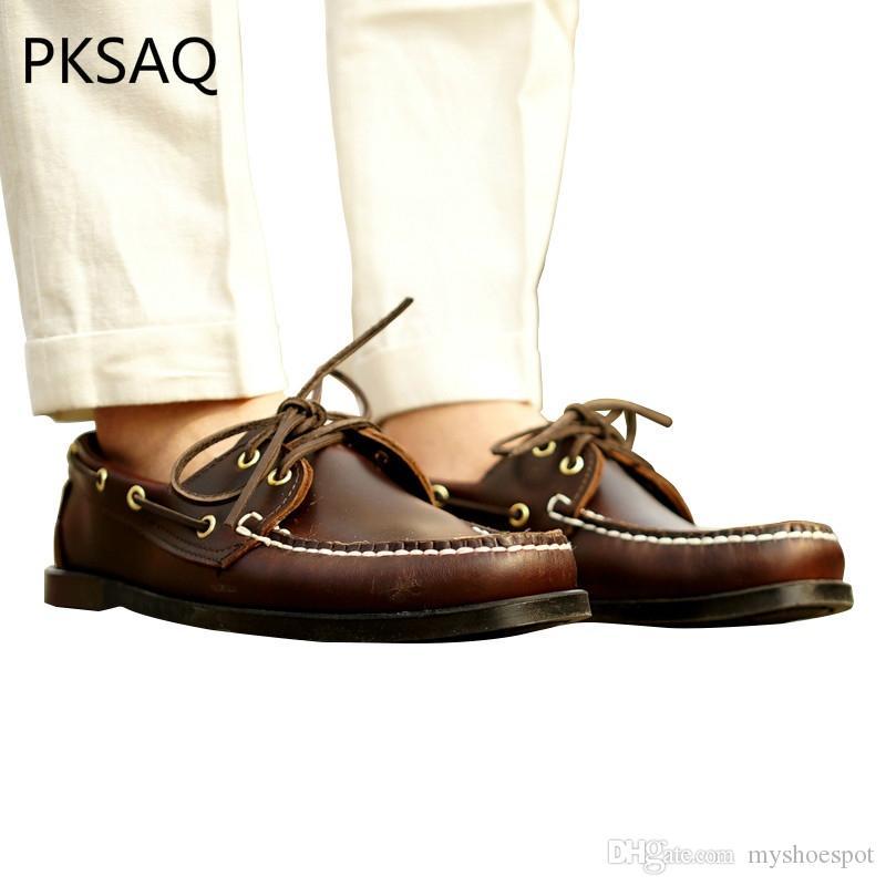 Cordones Zapatos Punta Transpirable Clásico Casuales De Primavera Plana Barco Marrón Negocios Con Redonda Cuero Otoño Oscuro Hombre 8n0NyOvmw