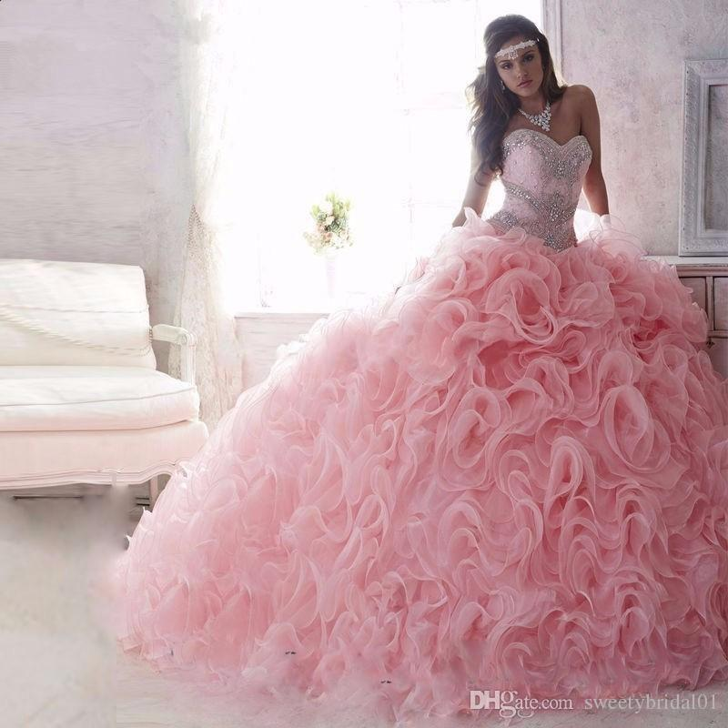 Princess Sweet 16 Quinceanera Gowns Ball Gown Organza Ruffle Pink Quinceanera Dresses Lace Up Rhinestones Debutante Gown