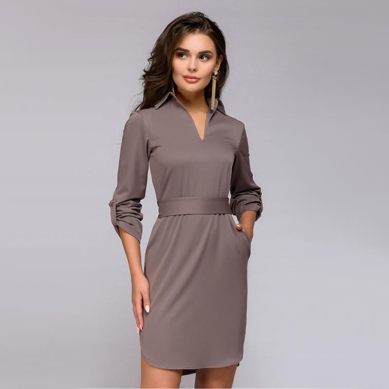 266fa10af29 Office Lady Straight V-neck Dress 2018 Autumn Fashion Classic Full ...