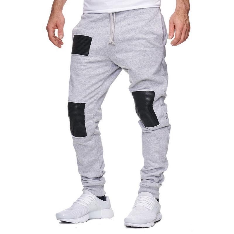 8dfff02cb0bb Monos de invierno para hombres Pantalones deportivos largos y casuales  Diseño de cuero de patchwork Pantalones casuales de moda Pantalones de  hombre ...