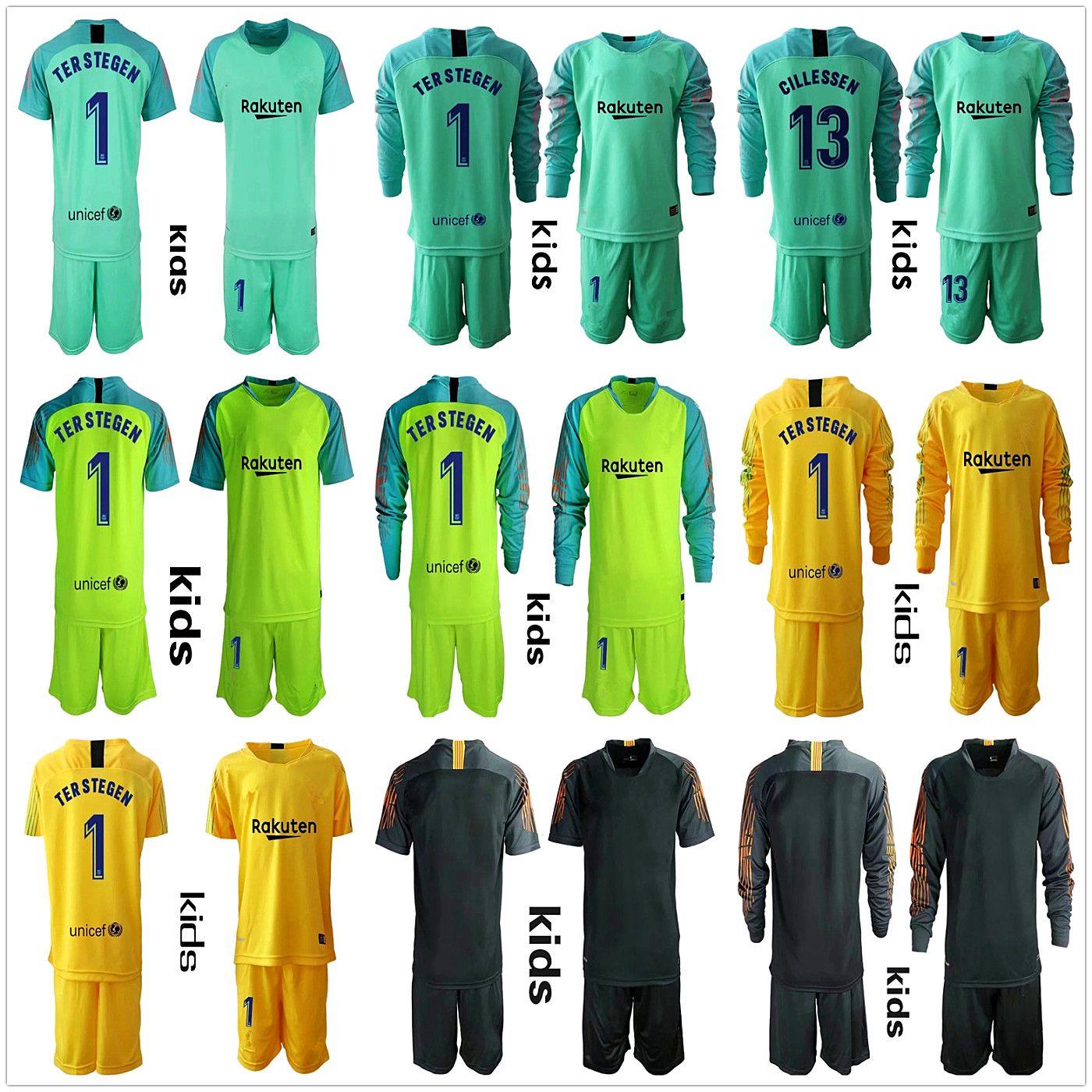 new product 5677f daa95 2018 2019 Youth Long Ter Stegen Goalkeeper Jerseys Kids Kit Soccer Sets #1  Ter Stegen Kid Boy Goalkeeper Jersey Children Uniform Sets