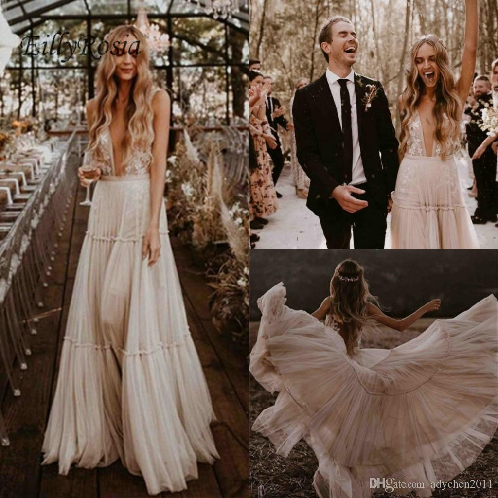 cd0e95fbb4c Country Style Lace Boho Wedding Dresses Turkey 2019 Soft Tulle A Line Sheer  Appliques Sexy Bridal Gowns Bohemian Vestidos De Novia Boho Mermaid Lace  Wedding ...