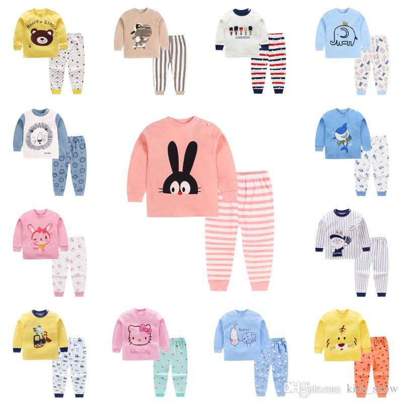 8f944ade17 Kids Cartoon Cotton Pajamas Set Long Sleeve Spring Autumn Baby Boys Girls  Sleepwear Homewear Children Underwear Outfit Clothing Kids Pjs Sale  Matching ...