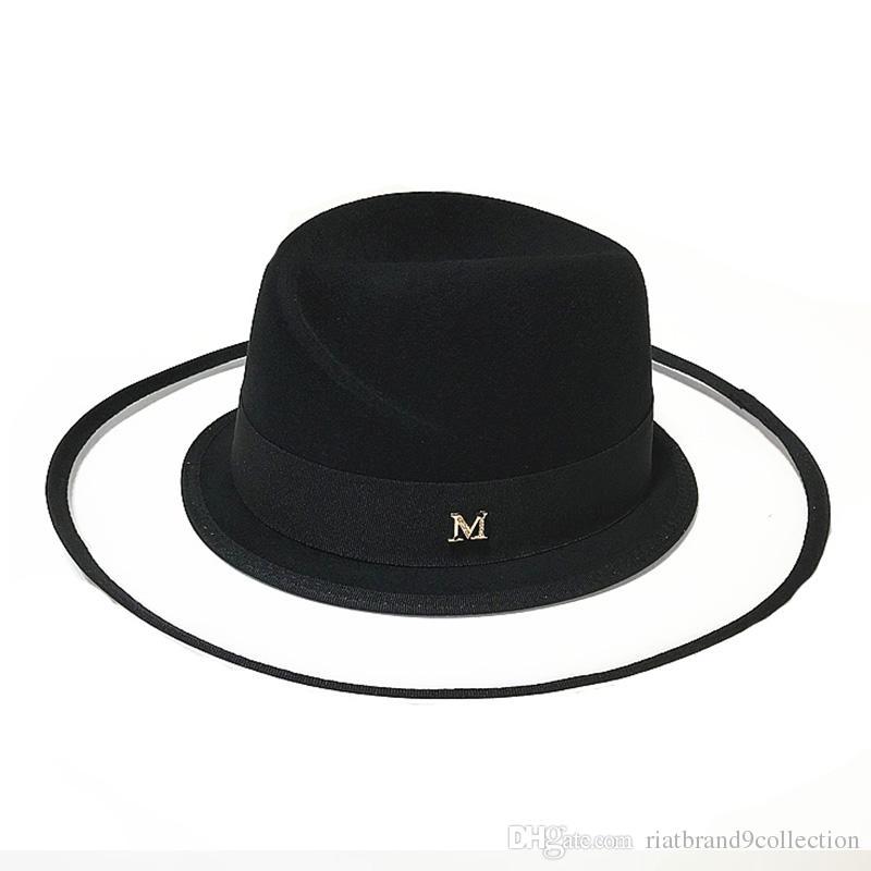 Acquista Moda Lana Donna Fedora Pure Wool Cappello Felt Winter Hat Clear  BrimTrendy Ladies Church Derby Hat Wide Brim Jazz Caps Taglia 56 59CM A   21.1 Dal ... e7de775932e6