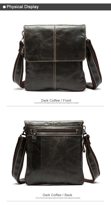 MVA Messenger Bag Men's Genuine Leather shoulder bag for men leather man fashion Small Flap male Crossbody Bags handbags 8006