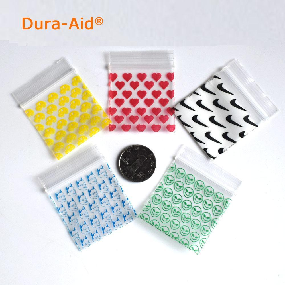 300pcs different size desgin printing small size Self Sealing Zip Lock Bags Mini ziplock jewelry pouches mini ziplock bags