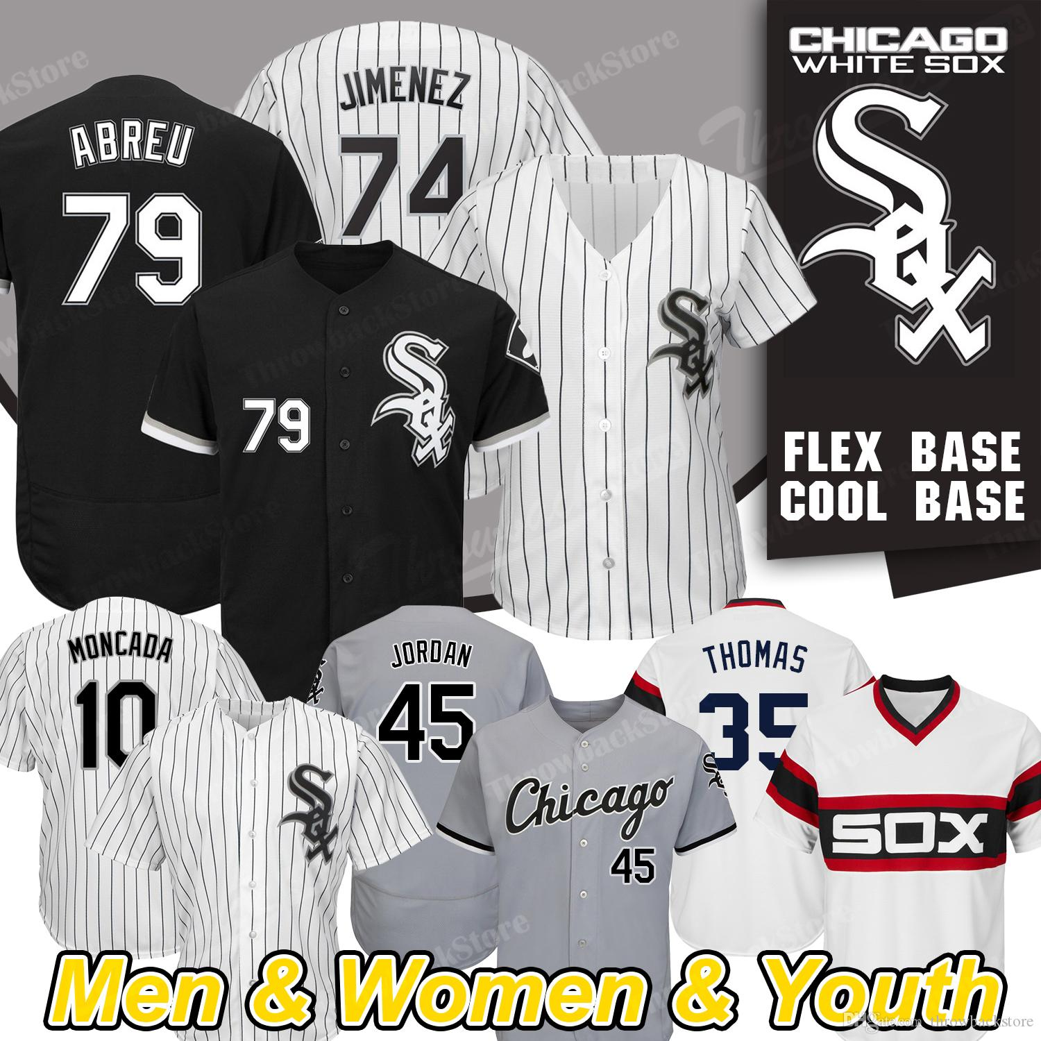 9163b98e3 2019 Chicago New White Sox Jersey Jon Jay Eloy Jimenez Frank Thomas Yoan  Moncada Cool Base Baseball Jerseys From Throwbackstore