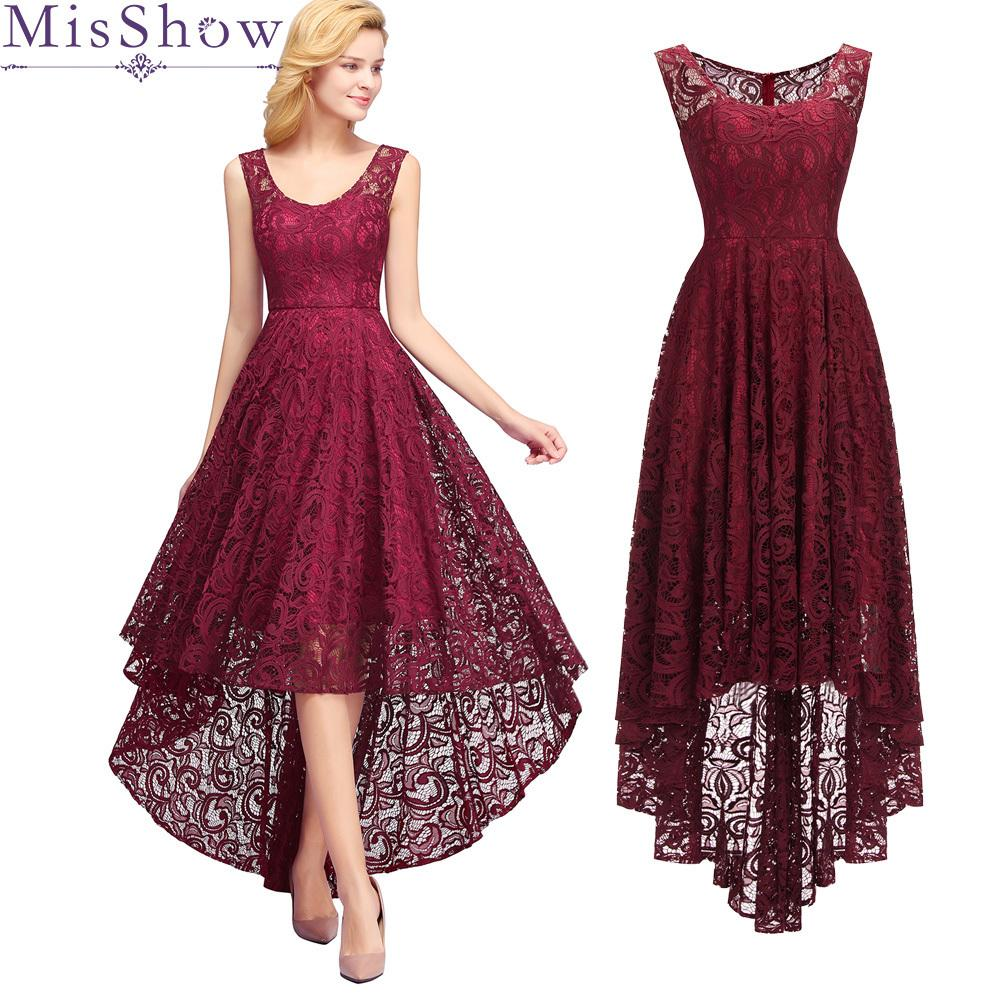 60c9bb510d5 2019 New Evening Dresses High Low Sleeveless Burgundy Long Back ...