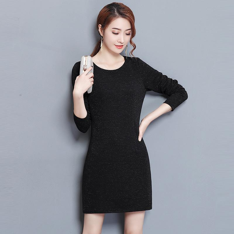9359a768198 Winter Thick Knit Dresses Plus Size 3xl Long Sleeve O Neck Warm Dress  Spring Slim Fashion Black Knitted Dresses Re0307 Bridal Dress One Shoulder  Dresses ...
