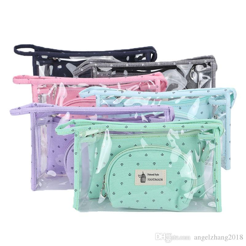 Cosmetic Bag Three Piece Suit PVC Candy Colors Zipper Korean Version Soft Handle Crown Print Cross Section Square