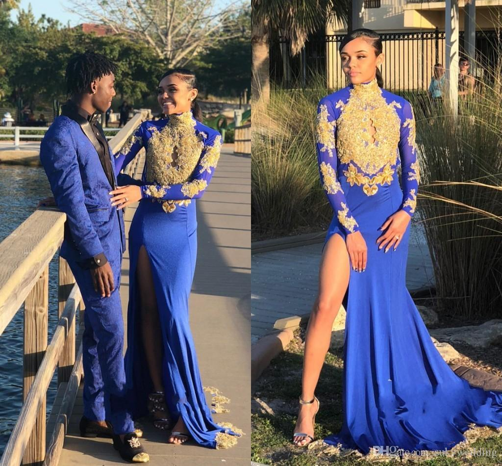 d35e7708857c Sexy African Royal Blue Prom Dresses 2019 Long Sleeves Gold Lace Black  Girls Long Mermaid Evening Party Gowns Women Backless Pageant Gowns Prom  Formal ...