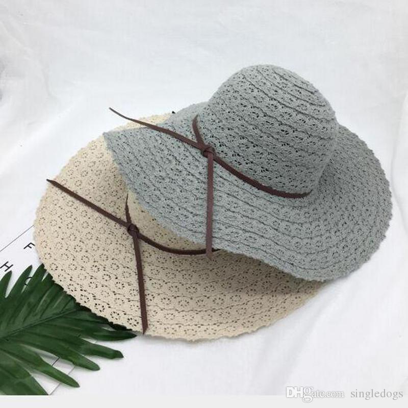 349cf8141e6 Summer Vintage Hollow Out Lace Hats Women Large Floppy Foldable ...