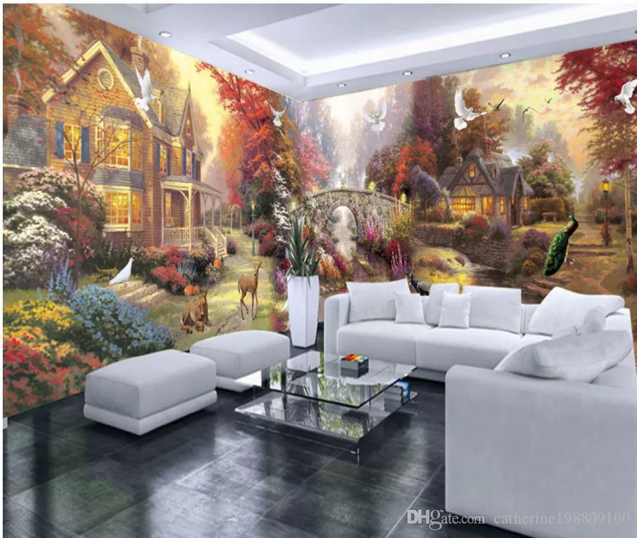 carta da parati per pareti 3 d per soggiorno Pittura da giardino rurale,  intera casa, parete, murale personalizzato