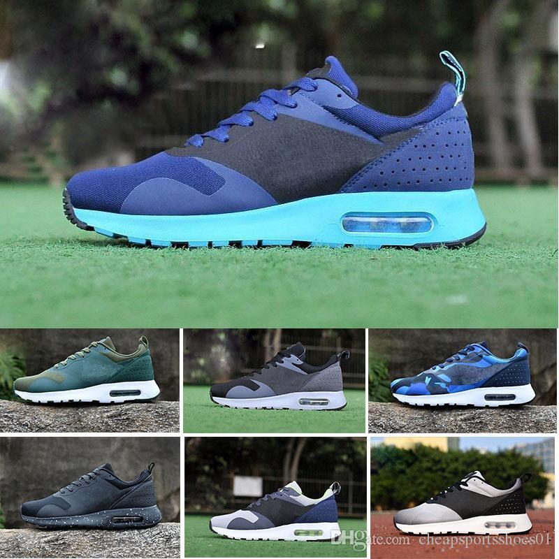 2017 Nike Air Max 87 thea 87 90 Tavas Camuflaje hombres zapatos casuales 100% original todo el zapato thea negro 2017 zapatos calientes tamaño 40 45