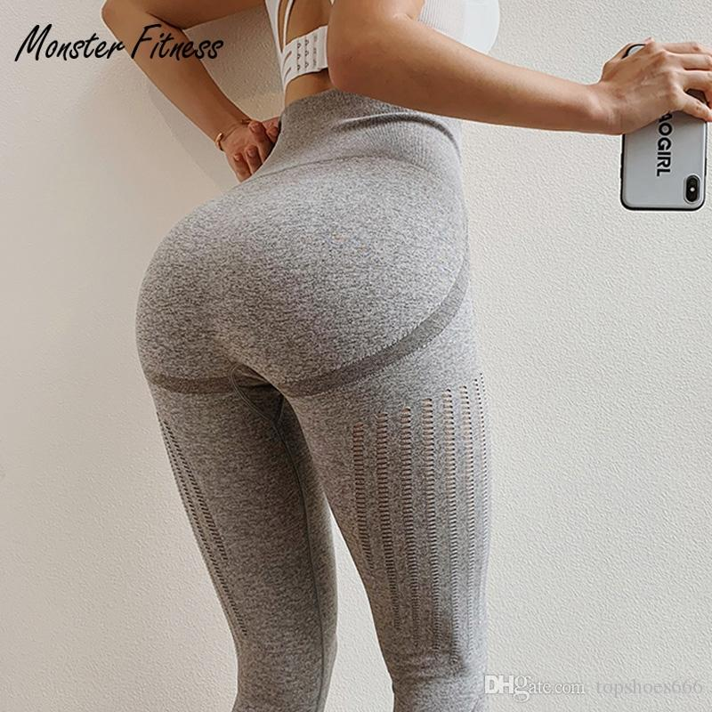 d0f41b1ff10c27 2019 Monster 2019 Grey Blue Gym Tights Yoga Pants Women High Waisted Tummy  Control Sport Leggings Fitness Seamless Leggings #40464 From Topshoes666,  ...