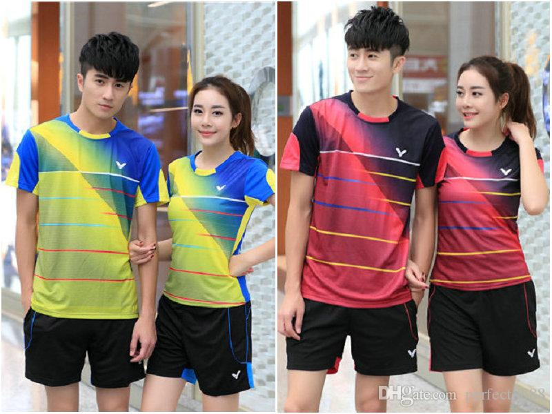 I6 Victor Badminton Suit Sportswear for Men & Women Short Sleeve T-shirt Leisure Running Basketball casual wear Table tennis V-36160