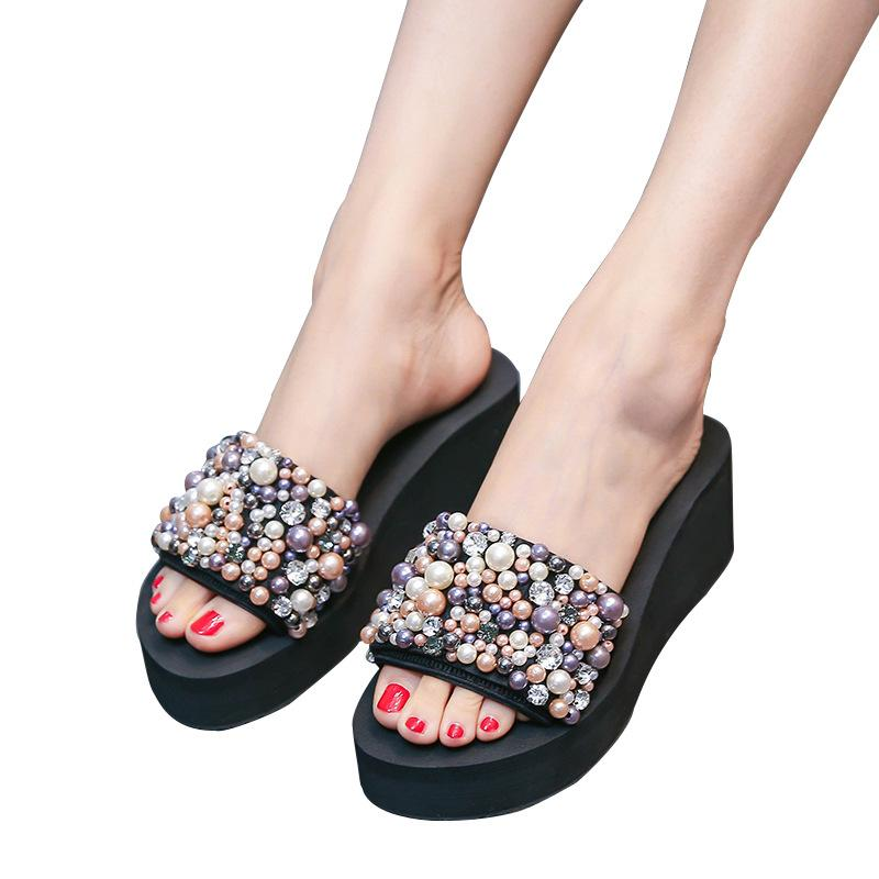 637a83540 New Style Sandals For Summer Wear Fashionable High Heel And Thick Sole  Oneword Slippers Slippery Pearl Slope Heel Beach Shoes And Seaside Sl Pumps  Shoes ...
