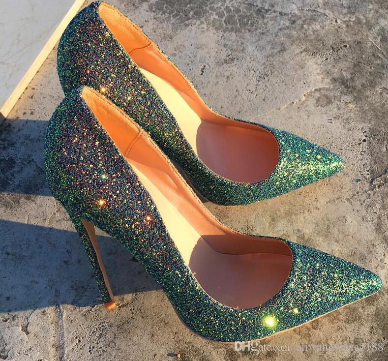 8e836306c716 2019 Fashion Women Wedding Lady Green Glitter Sequined Poined Toes High  HEELED Heels Shoes Stiletto Heel Shoes Pumps 12cm 10cm Cheap Trainers Blue  Shoes ...